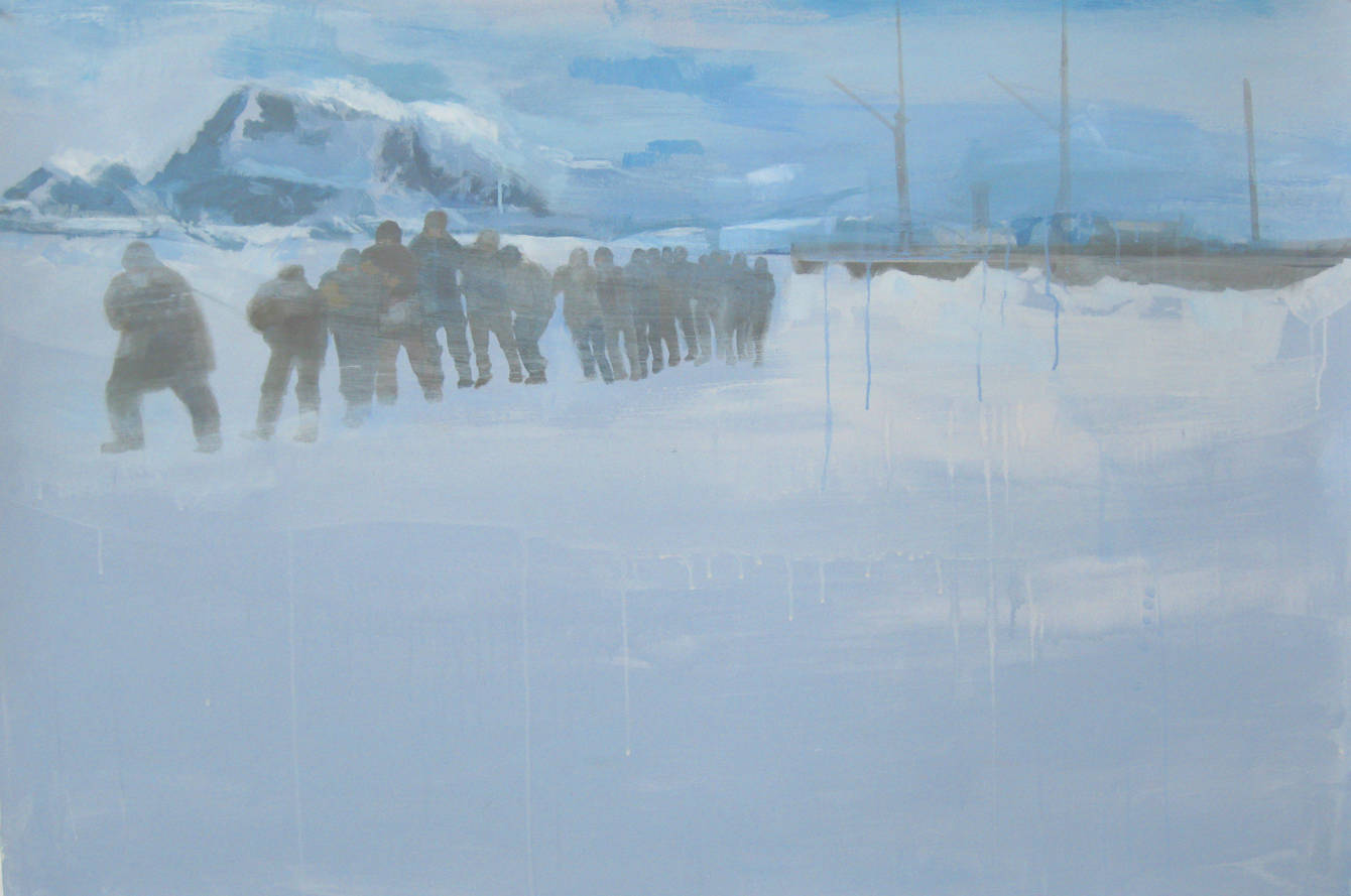 "Good Company, 2011, acrylic on paper, 40"" x 60"""