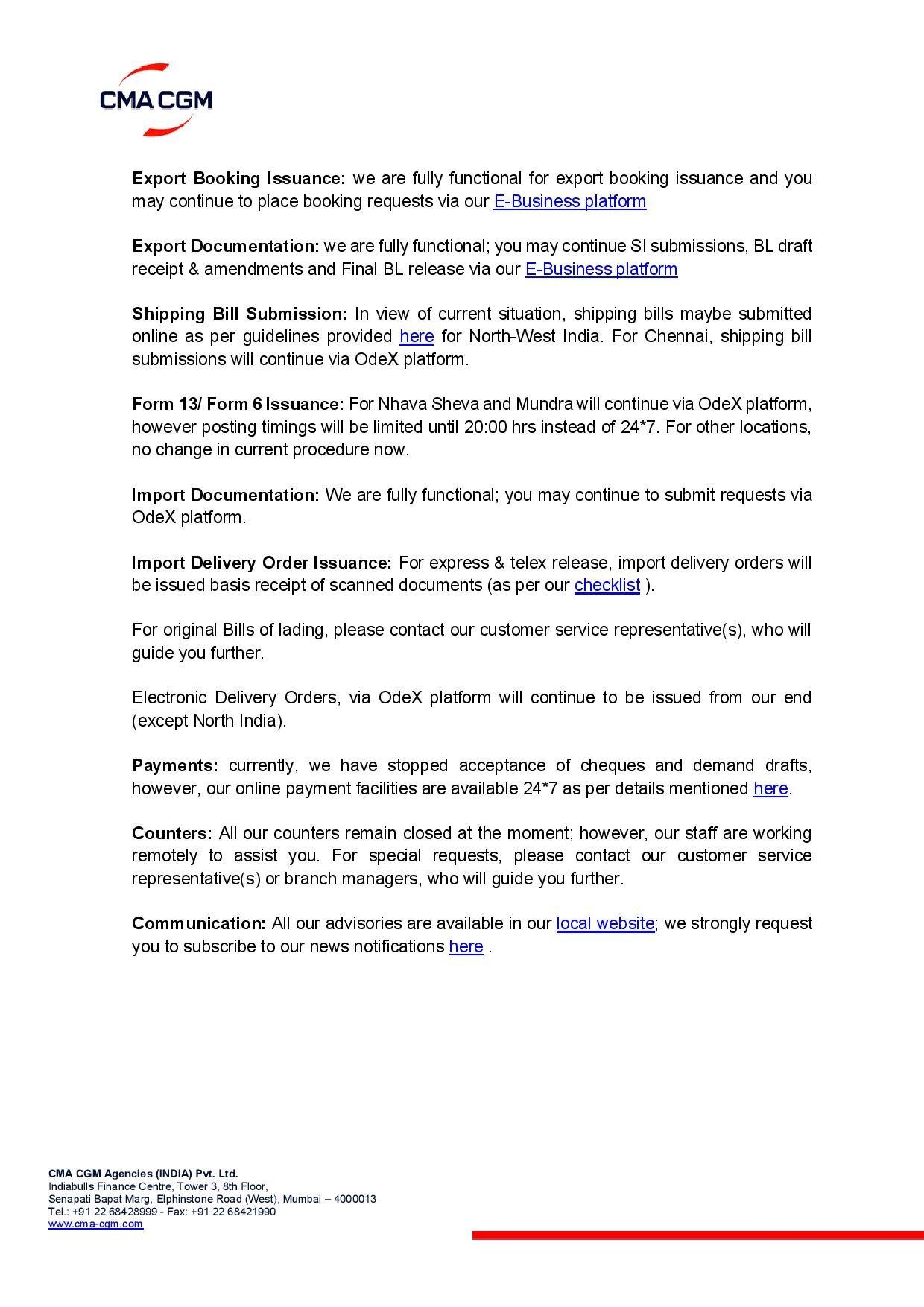 Covid 19 India Update Sealink International Inc