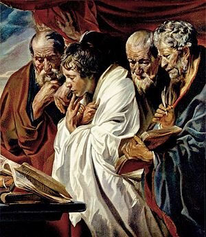 The Four Evangelists, Mathew, Mark, Luke, and John  ( French :  Les quatre évangélistes ) is an oil on canvas painting by the Flemish Baroque artist  Jacob Jordaens , completed in 1625, and is in the  Musée du Louvre , Paris, France.