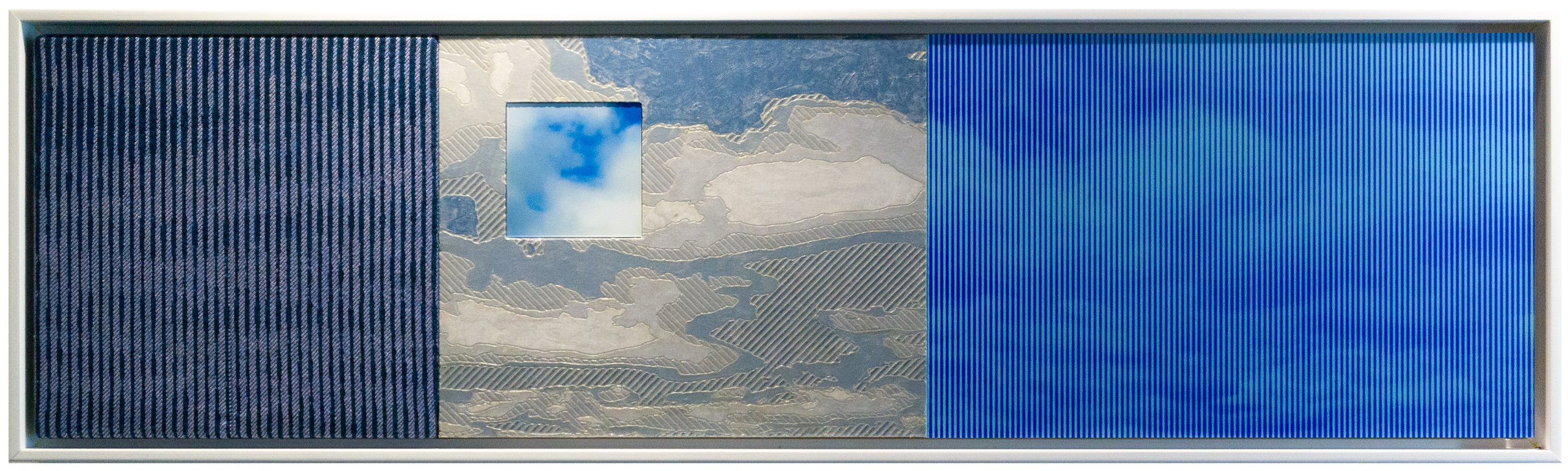 """From Sky to Sky   44"""" x 12"""" Jacquard tapestry, painted wood relief and digital prints"""
