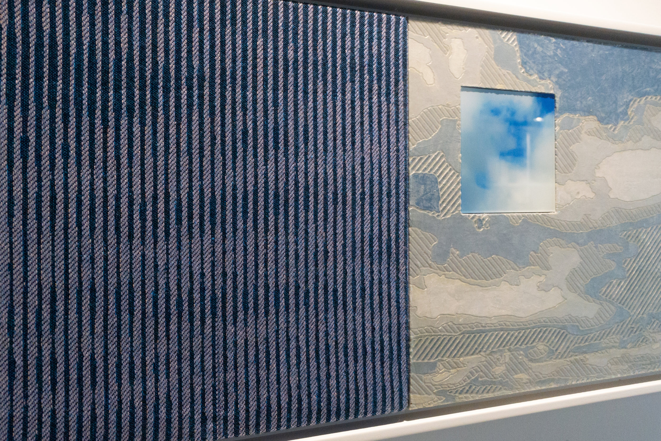 From Sky to Sky   Detail. Jacquard tapestry, painted wood relief and digital prints