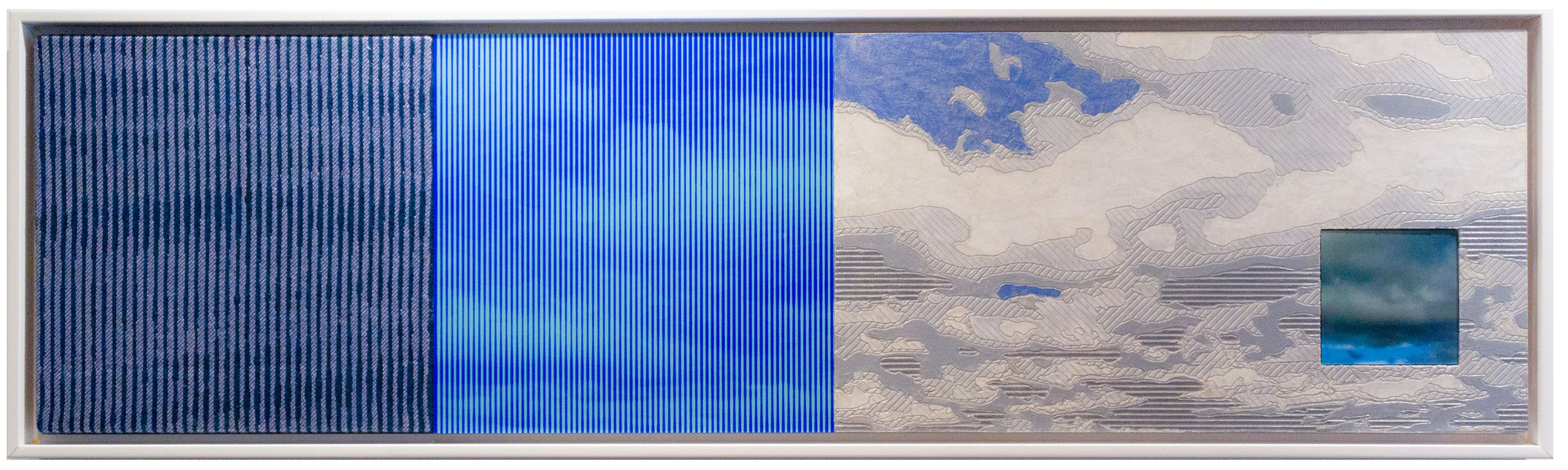 """Wide Open   44"""" x 12"""" Jacquard tapestry, painted wood relief and digital prints"""