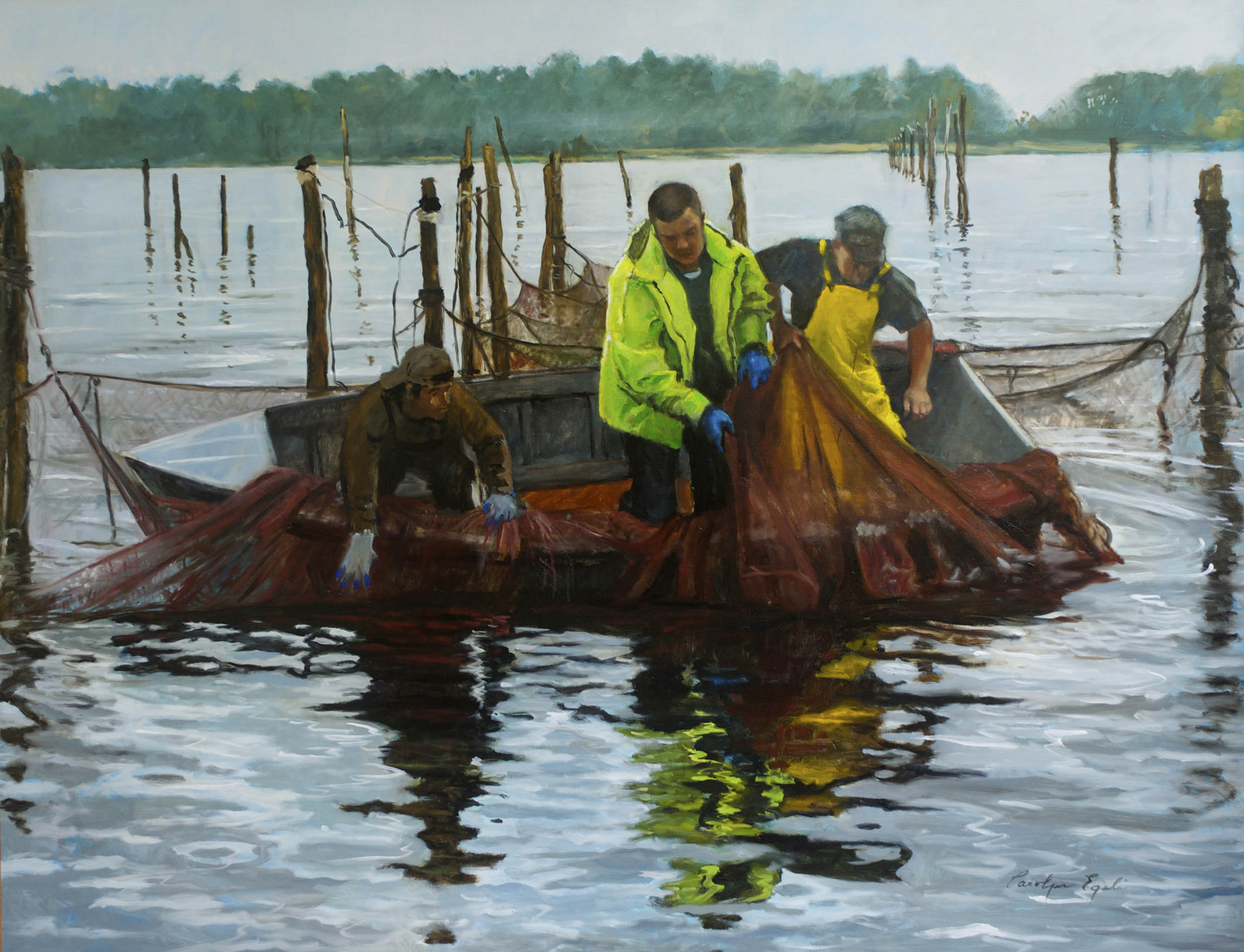 """Early Morning Haul with Lance Lumpkin, 42"""" x 55"""", Sold"""