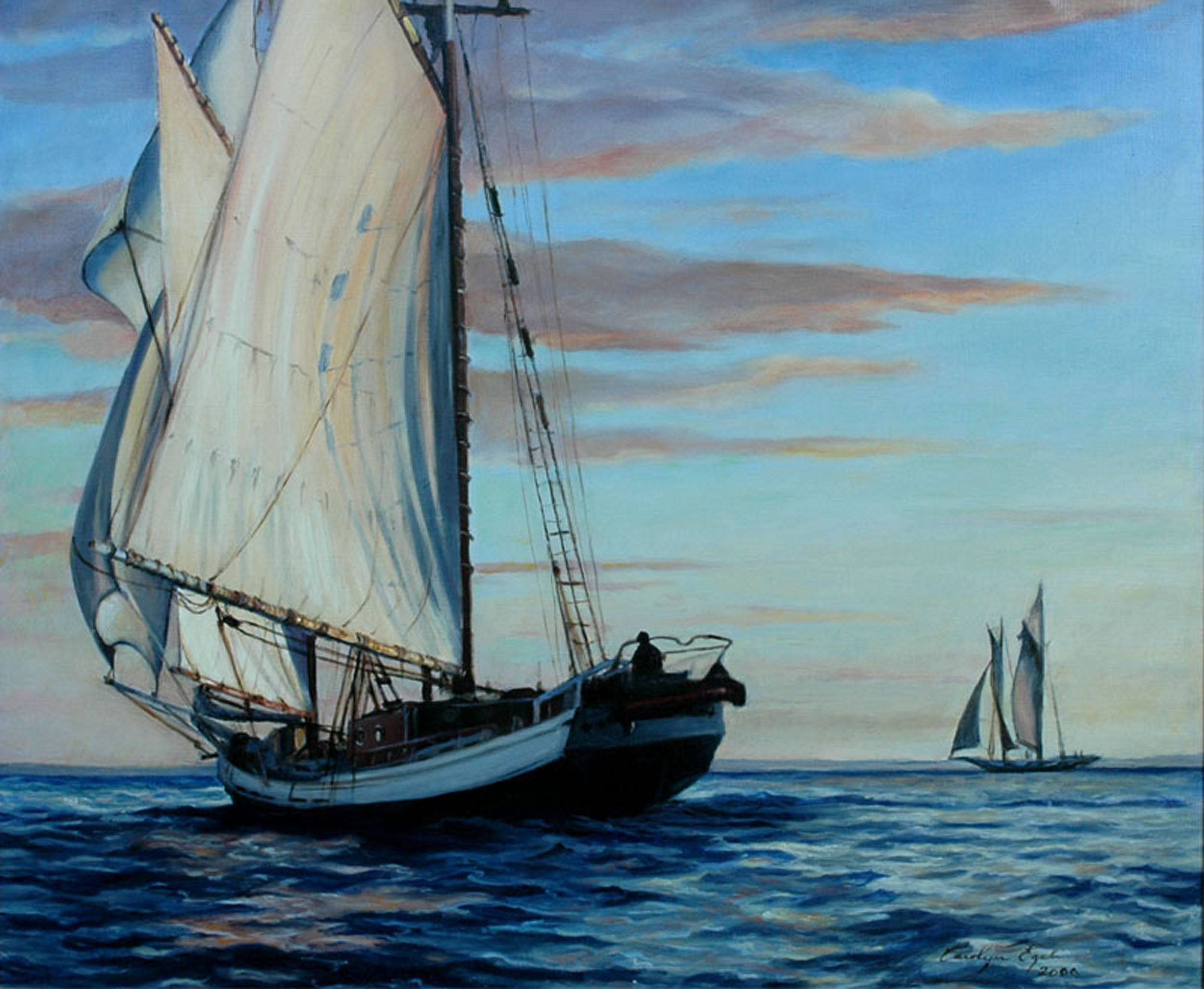 "Schooner on the Chesapeake, Evening Sail, 30"" x 36"", NFS"