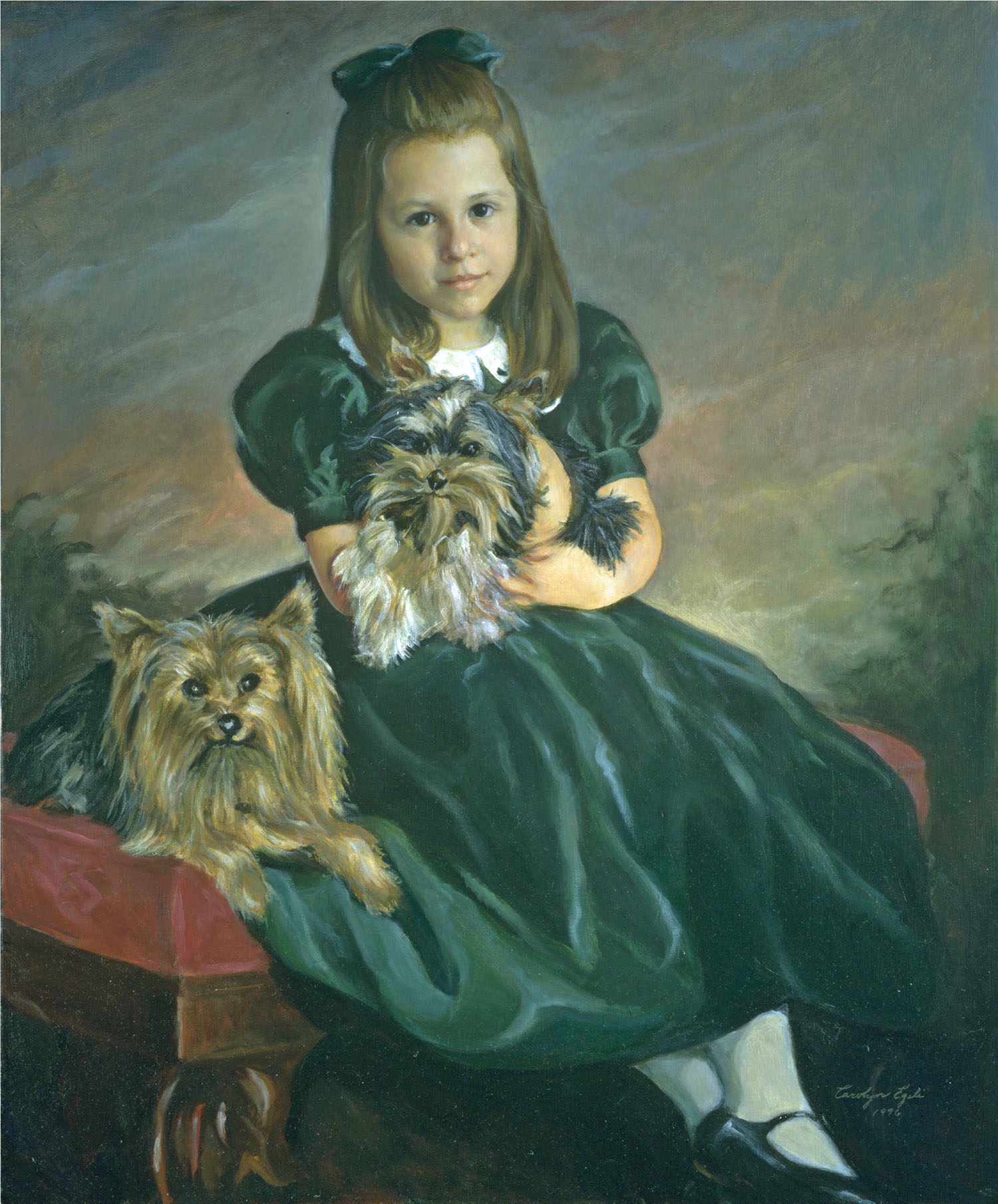 "Little Girl with Doggies, 30"" x 36"". Commission."