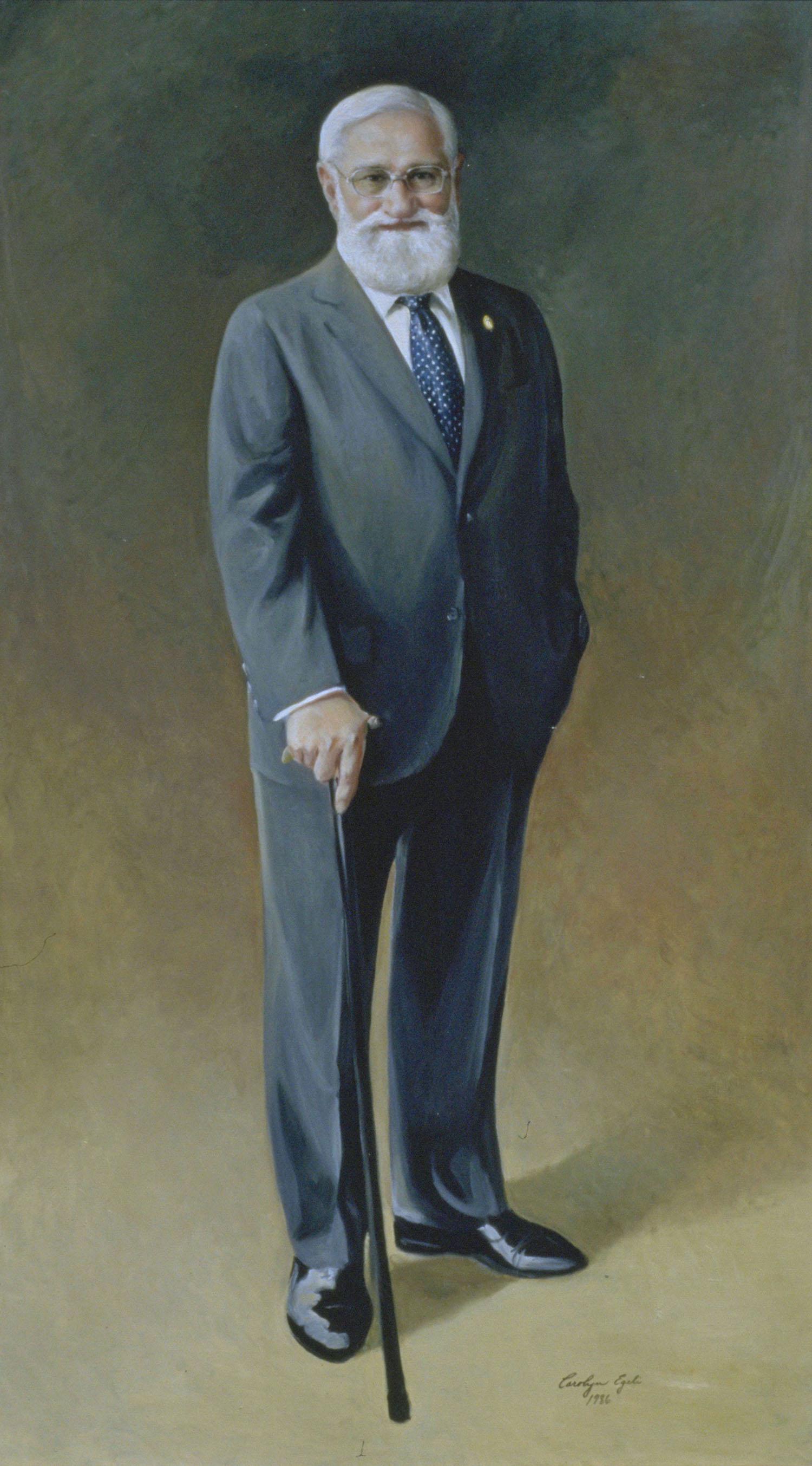 "Dr Albert Sabin, Developer of Oral Polio Vaccine. 36"" x 72"". Commission."