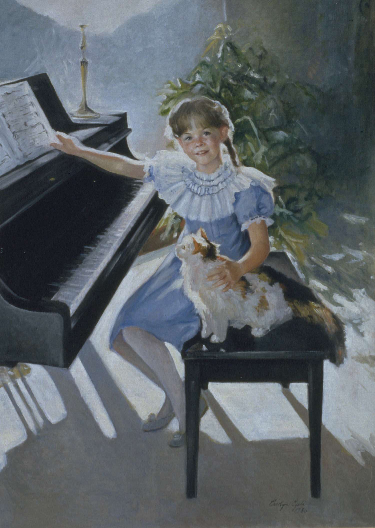 "Little Girl and Her Calico Cat, 50"" x 60"". Commission."