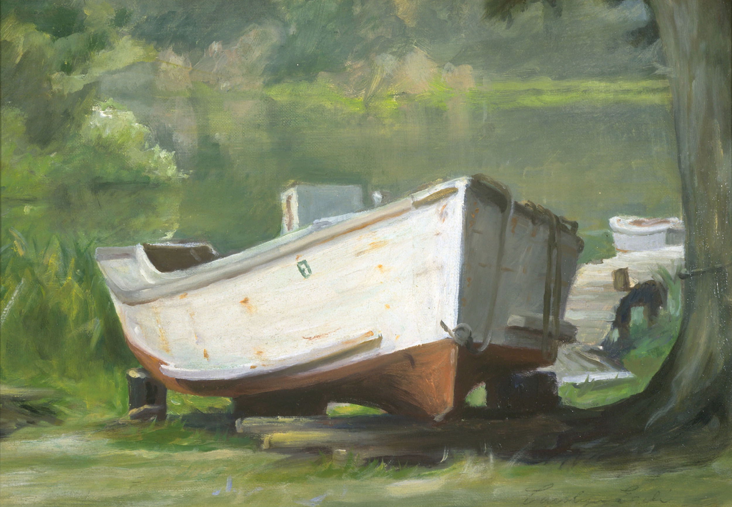 "Skiff on St George's Creek, 12"" x 16"", Sold"