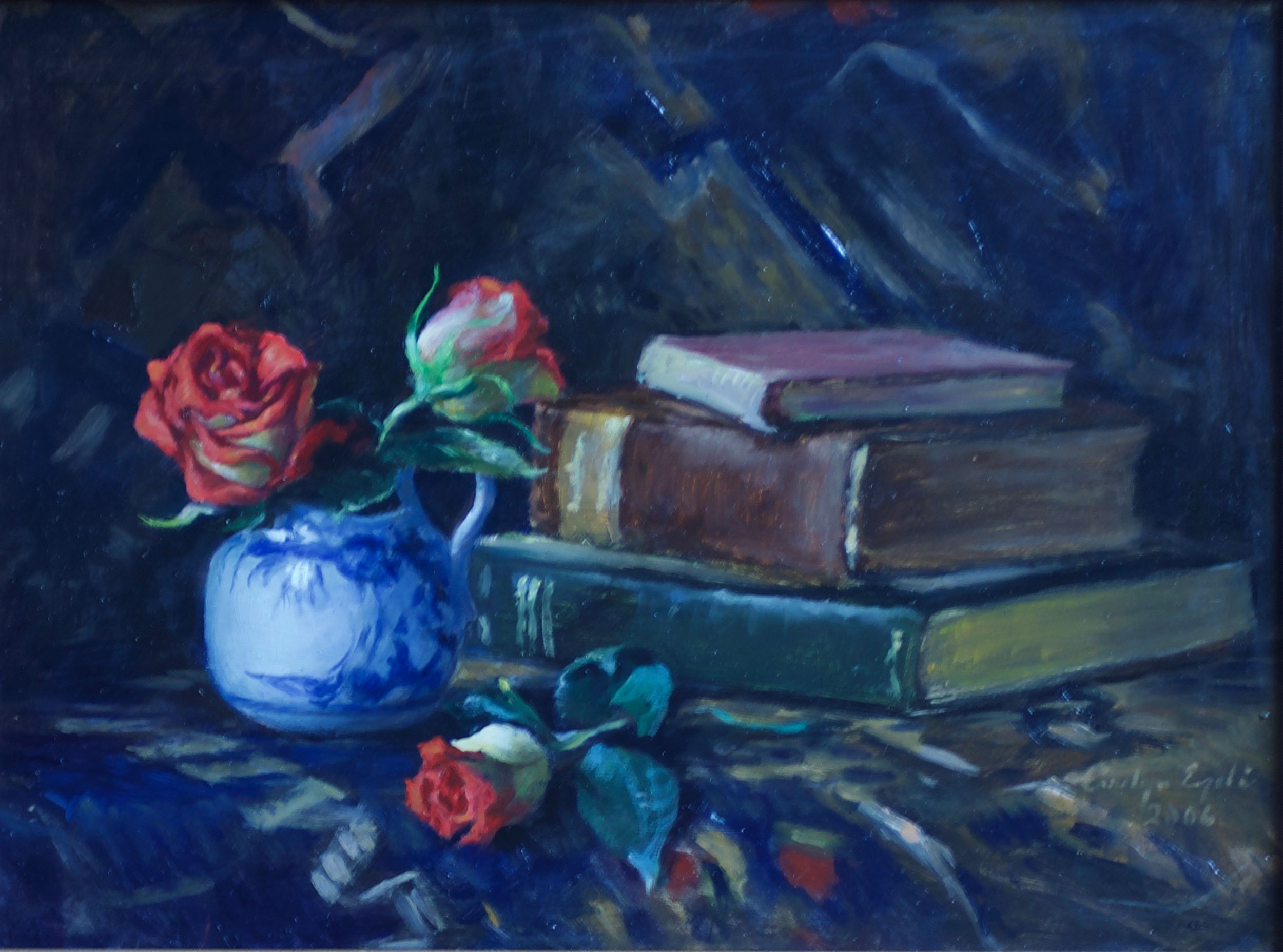 """Still Life with Roses, 12"""" x 16"""", Sold"""