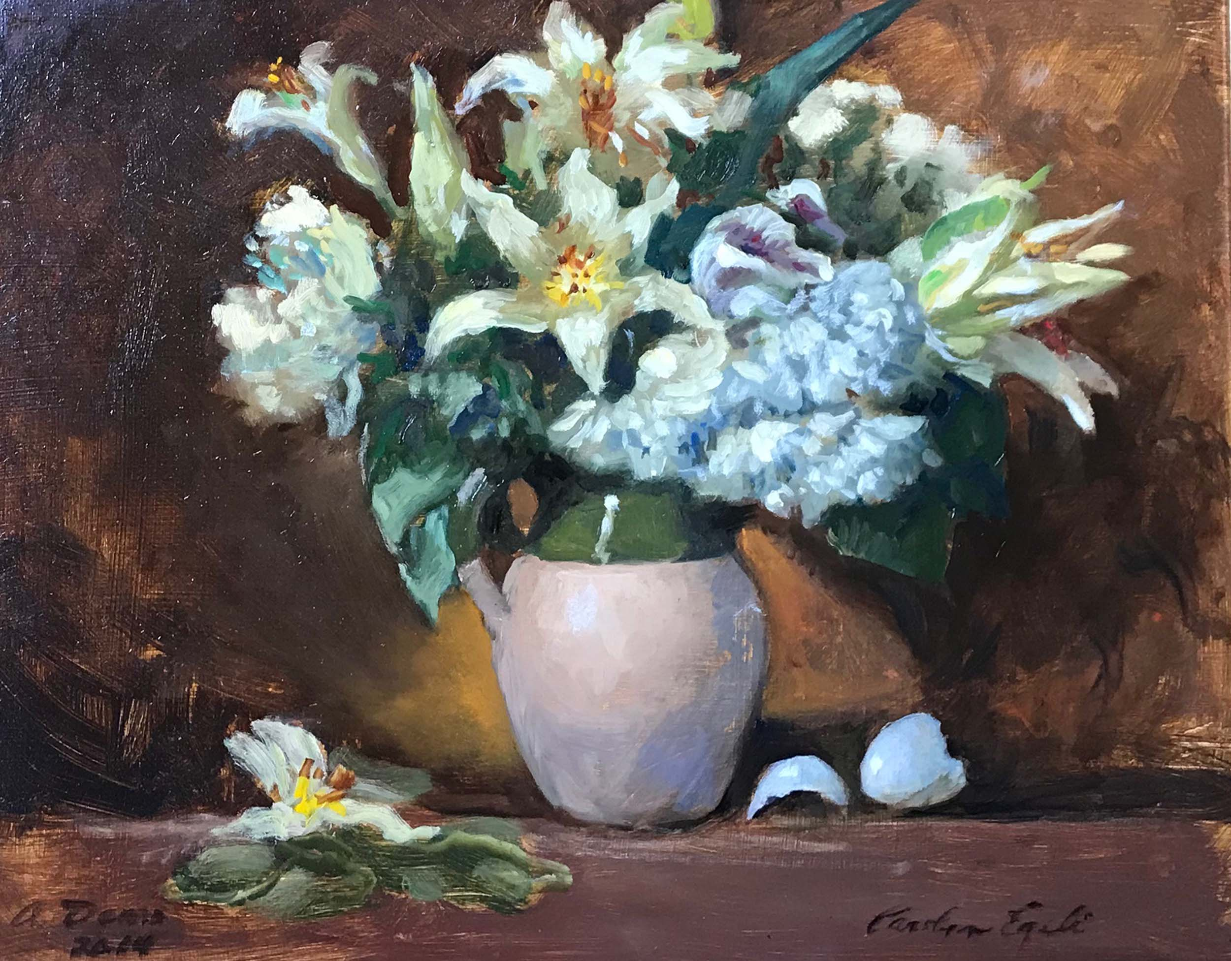 """Demo for Flowers, 14"""" x 18"""", Sold"""