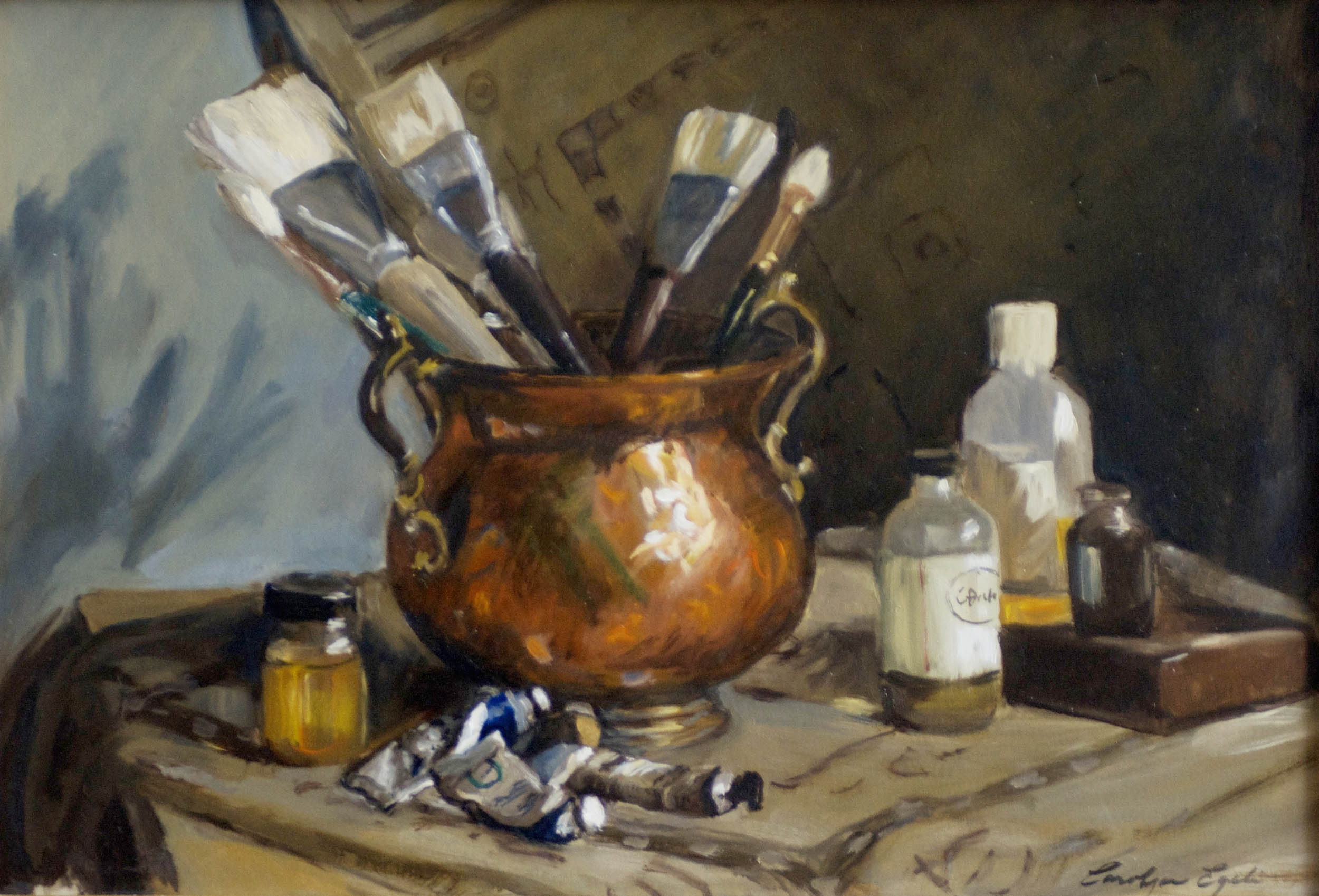 """Copper Pot with Brushes, 24"""" x 30"""", Sold"""
