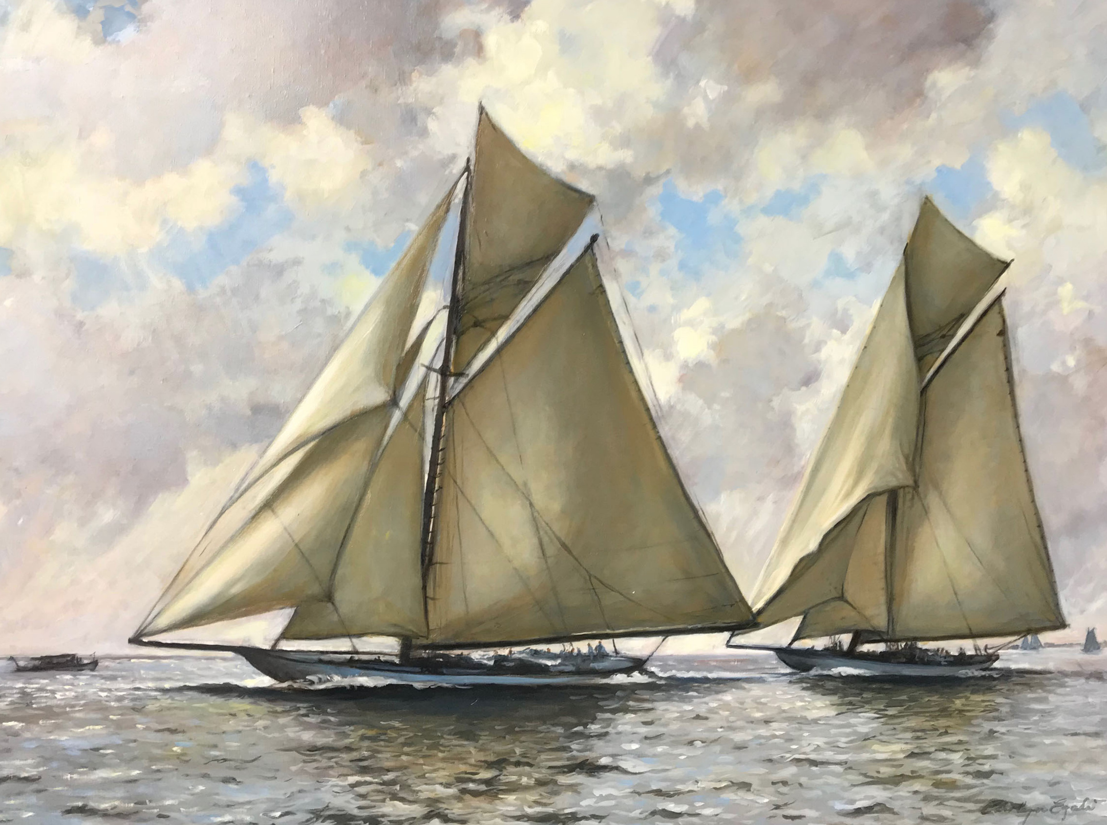 """Columbia and The Defender, 1899, 36"""" x 48"""""""