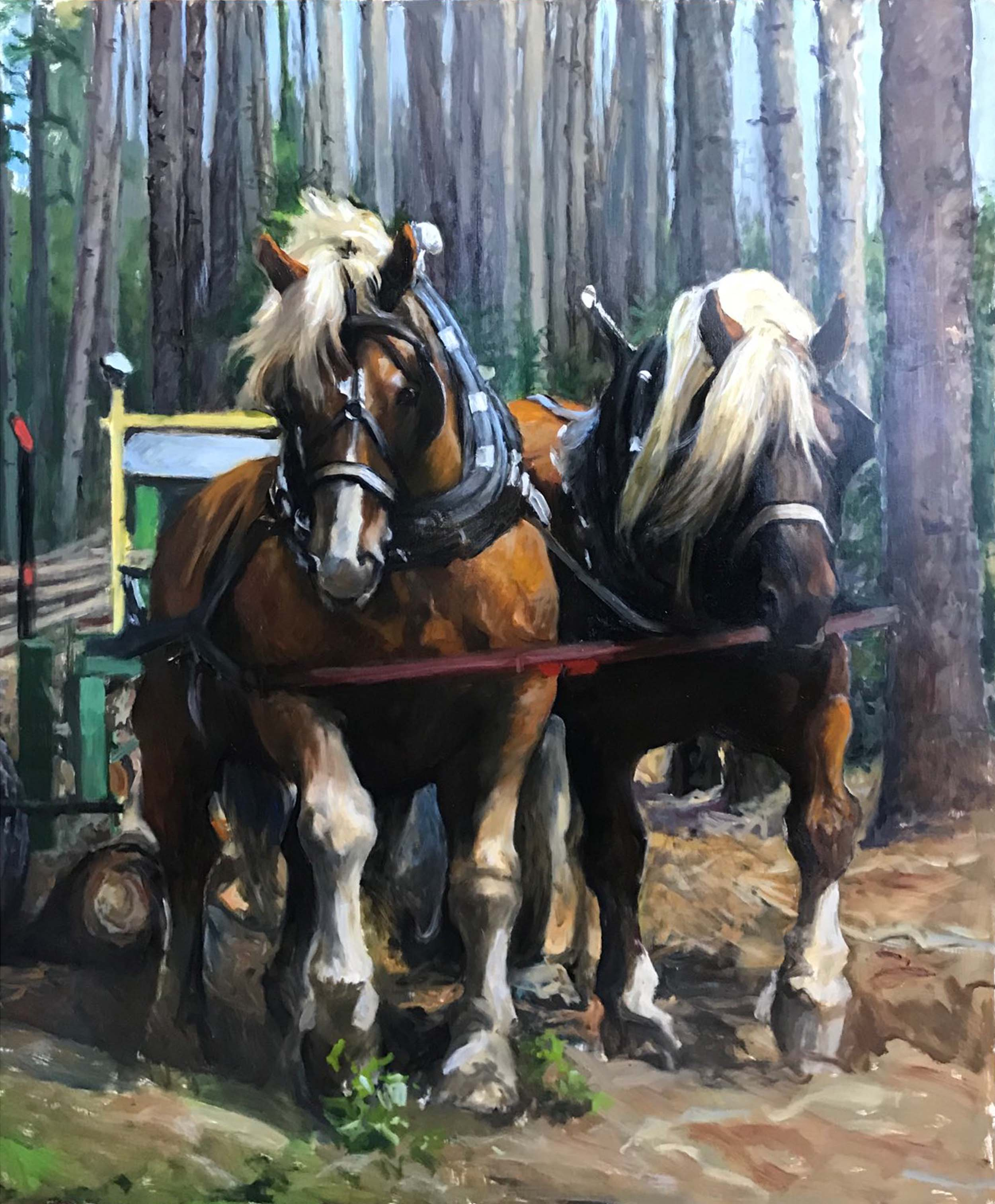 "Cleaning Up the Logging Trails. 36"" x 48"""