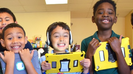UCP West Orange students gathering for instruction with their 1:1 iPads.