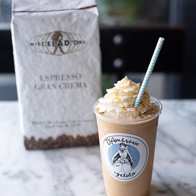 Stop in and treat yourself to one of our six new gelato frappes; made with our organic authentic gelato and Miscela D'Oro Espresso. #Frappe, #Gelato#organic#espresso#
