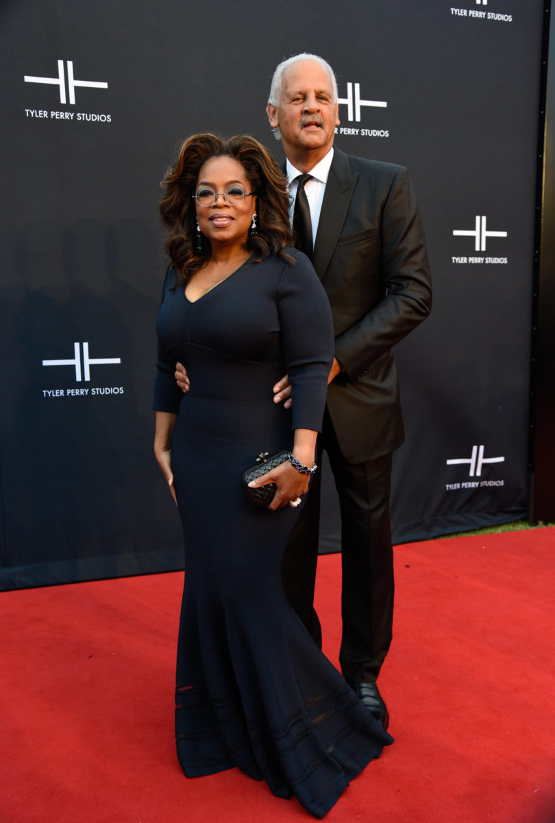 Oprah & Stedman gracing the red carpet in support of Perry's studio openeing - Image courtesy of Getty Images