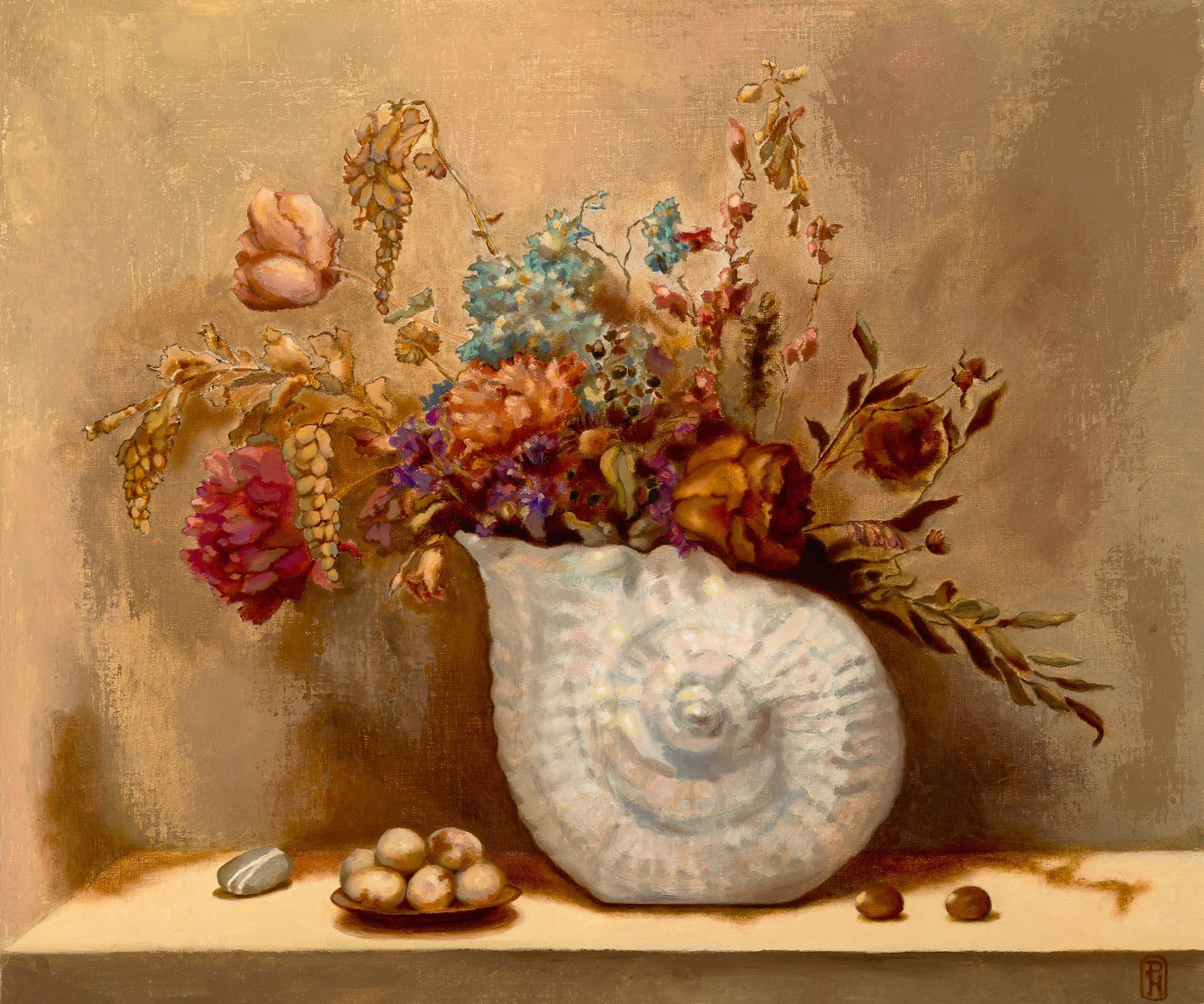 Dried Flowers in Antique Nautilus Vase, 22″ x 26″ oil on linen on panel, $1,500