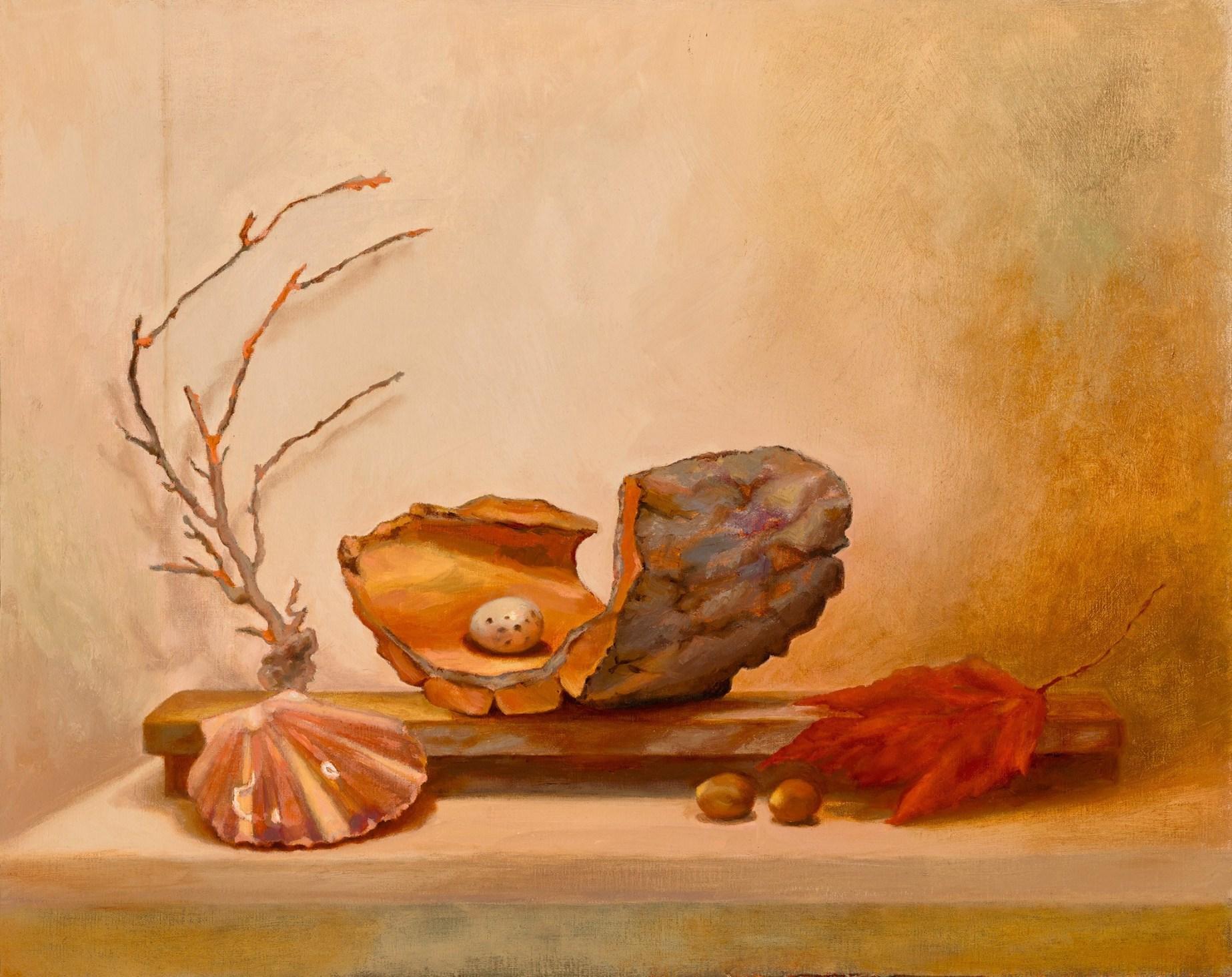 Little Altars: Madrona Altar, 16″ x 20″ oil on linen on aluminum, SOLD
