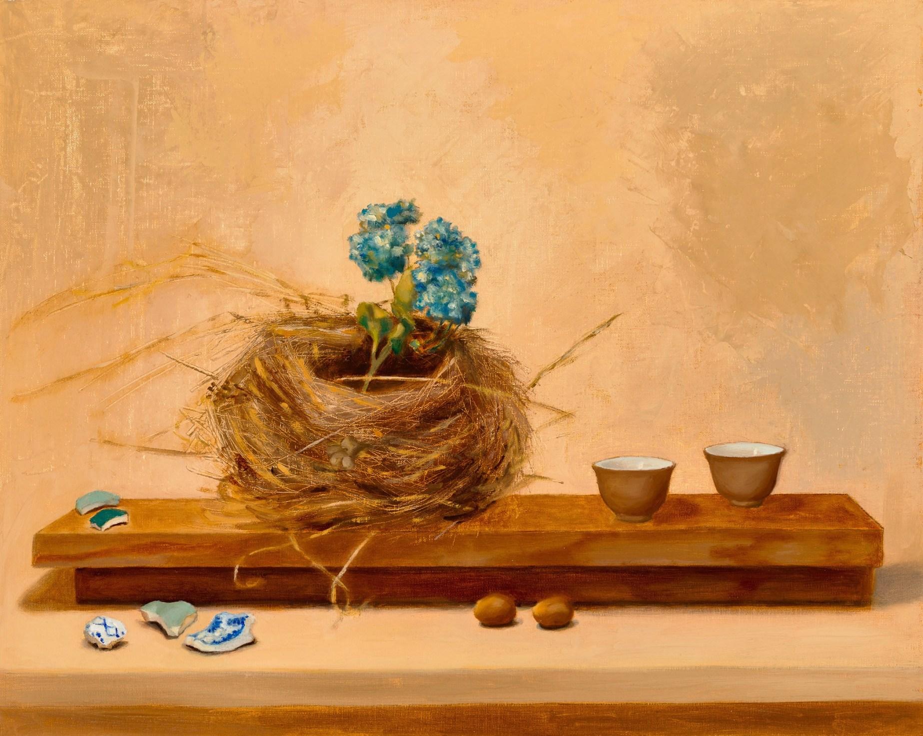 Little Altars: Nest Altar,16″ x 20″ oil on linen on aluminum, SOLD