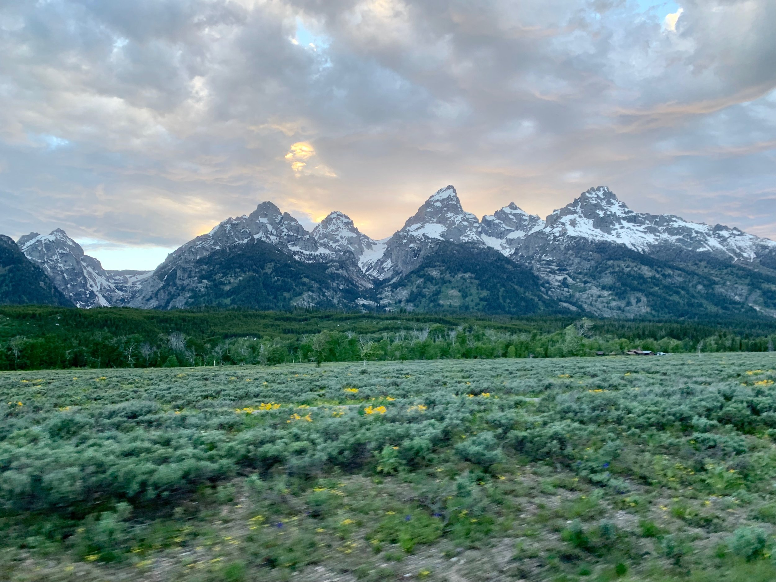 The Grand Tetons, looking west