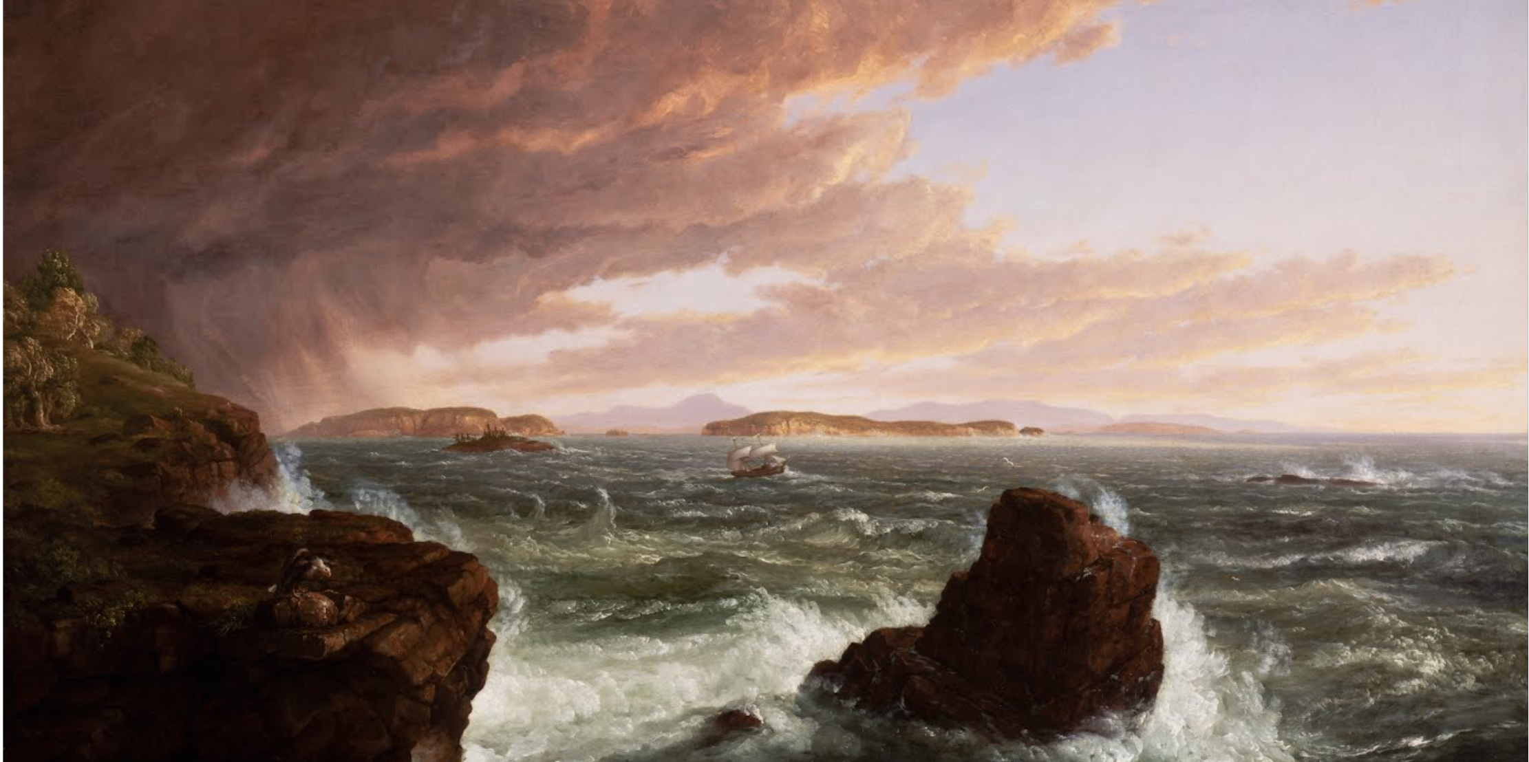 "Thomas Cole's ""View Across Frenchman's Bay From Mt. Desert Island, After a Squall,"" 1845"