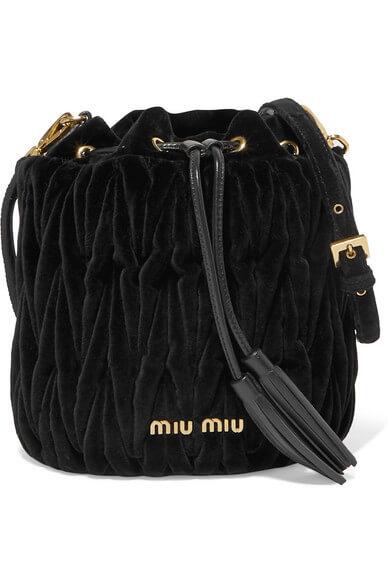 Miu Miu - Leather-trimmed matelassé velvet bucket bag