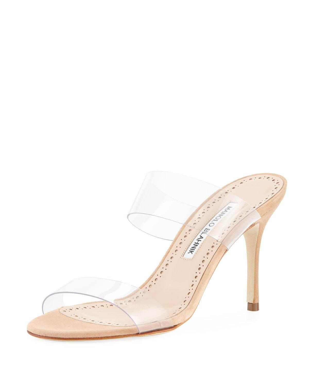 Bergdorf Goodman - Manolo Blahnik Scolto PVC Two-Strap Sandals