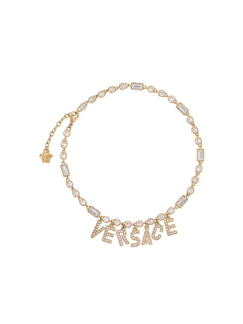 Versace crystal logo pendant necklace