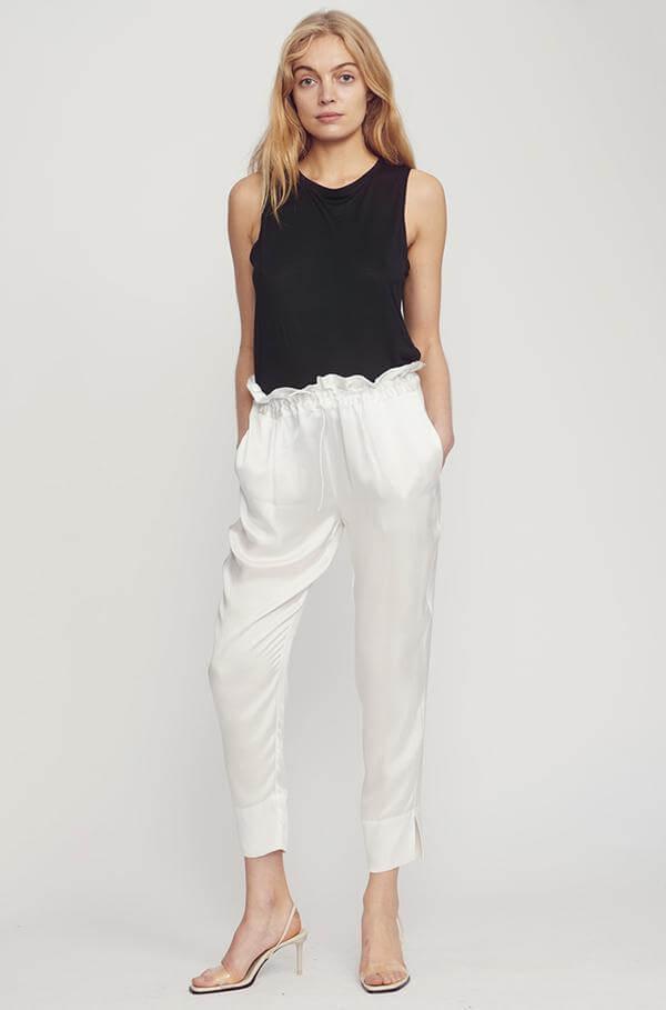 Silk Laundry Drawstring White Pants
