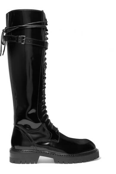 Ann Demeulemeester lace-up glossed leather knee boots