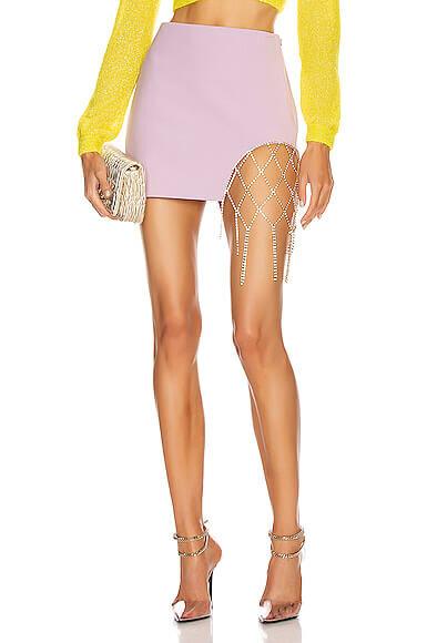 Area Crystal Fishnet Mini Skirt in Purple