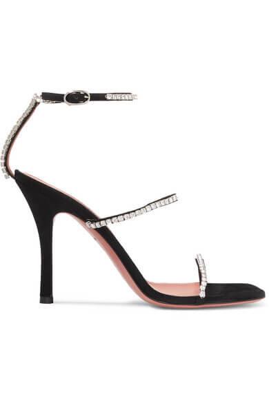 Amina Muaddi Gilda crystal embellished suede sandals
