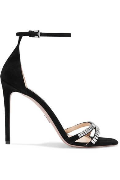 Prada crystal embellished suede sandals