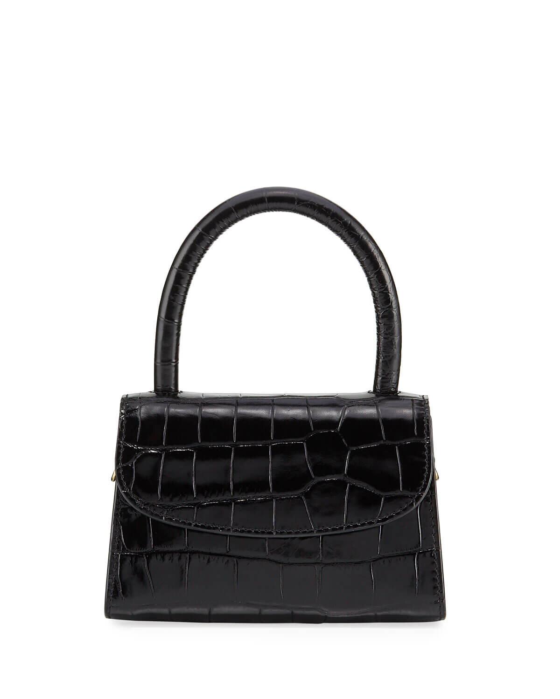By Far Crocodile-Embossed Mini Top Handle Bag