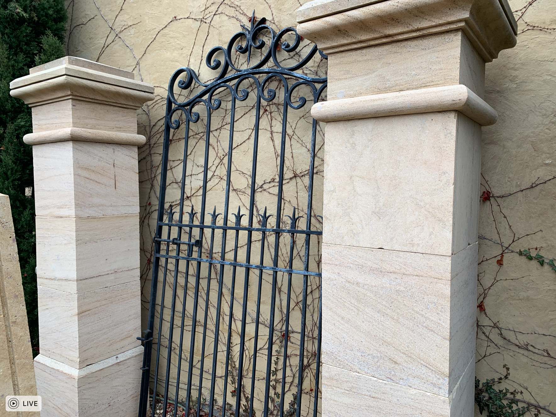 A872 Contemporary French wrought iron Lyon courtyard gate  $1450  A855 Stone Normandy gate post  $3850