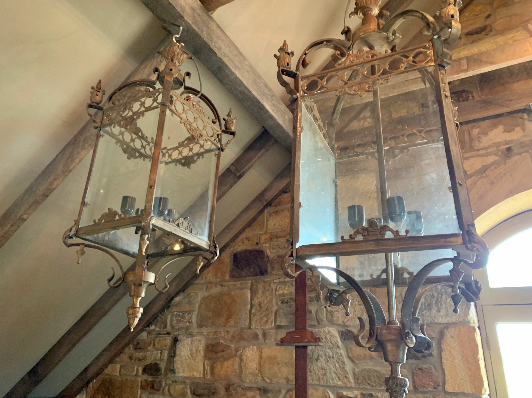 ML1445/1446 Traditional French cast tarnished brass and glass ceiling lanterns (available in 2sizes)  $1450-$1650