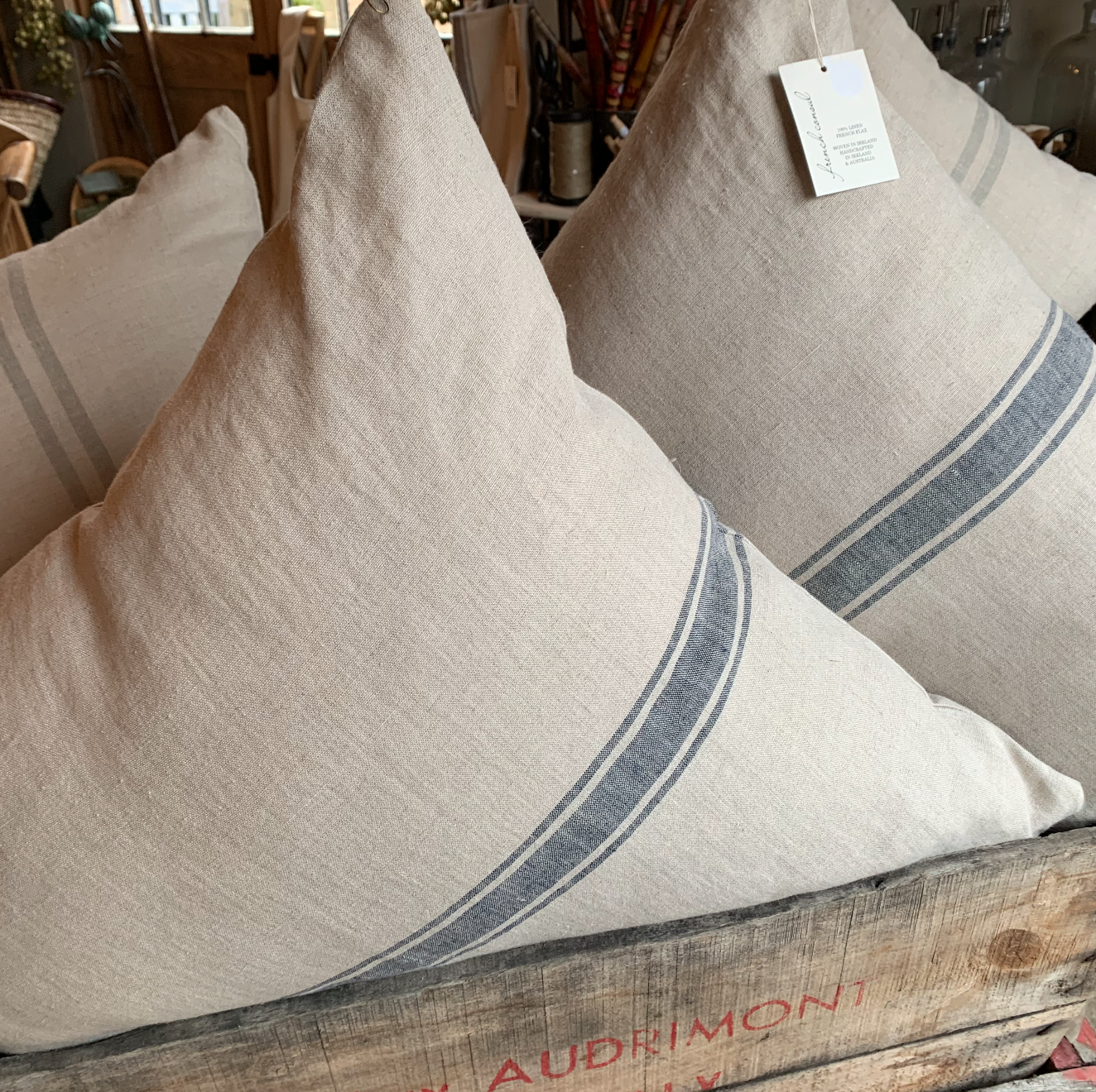 I4 French Consul linen grain sack cushions Bien/navy -Favourite/grey  $149-$169