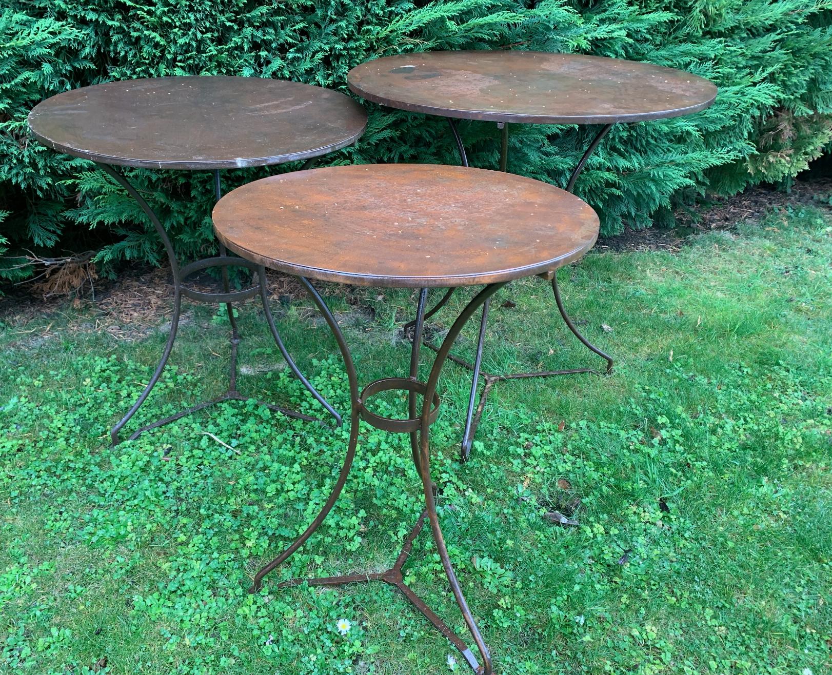 Contemporary French iron bistro tables TC955 50cm  $165  TC956 60cm  $185  TC952a 70cm  $245