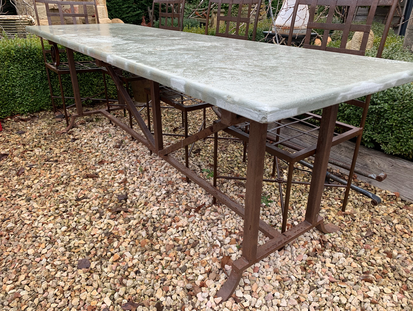 TC1732 Classic Tuscan dining table with honed edge limestone top  $1850