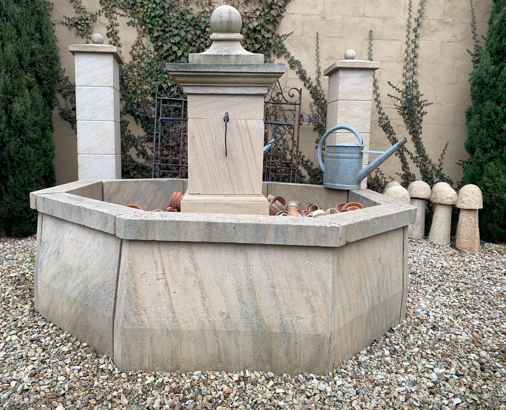 FWF1820 Abbeville stone fountain with brass spouts  $4500