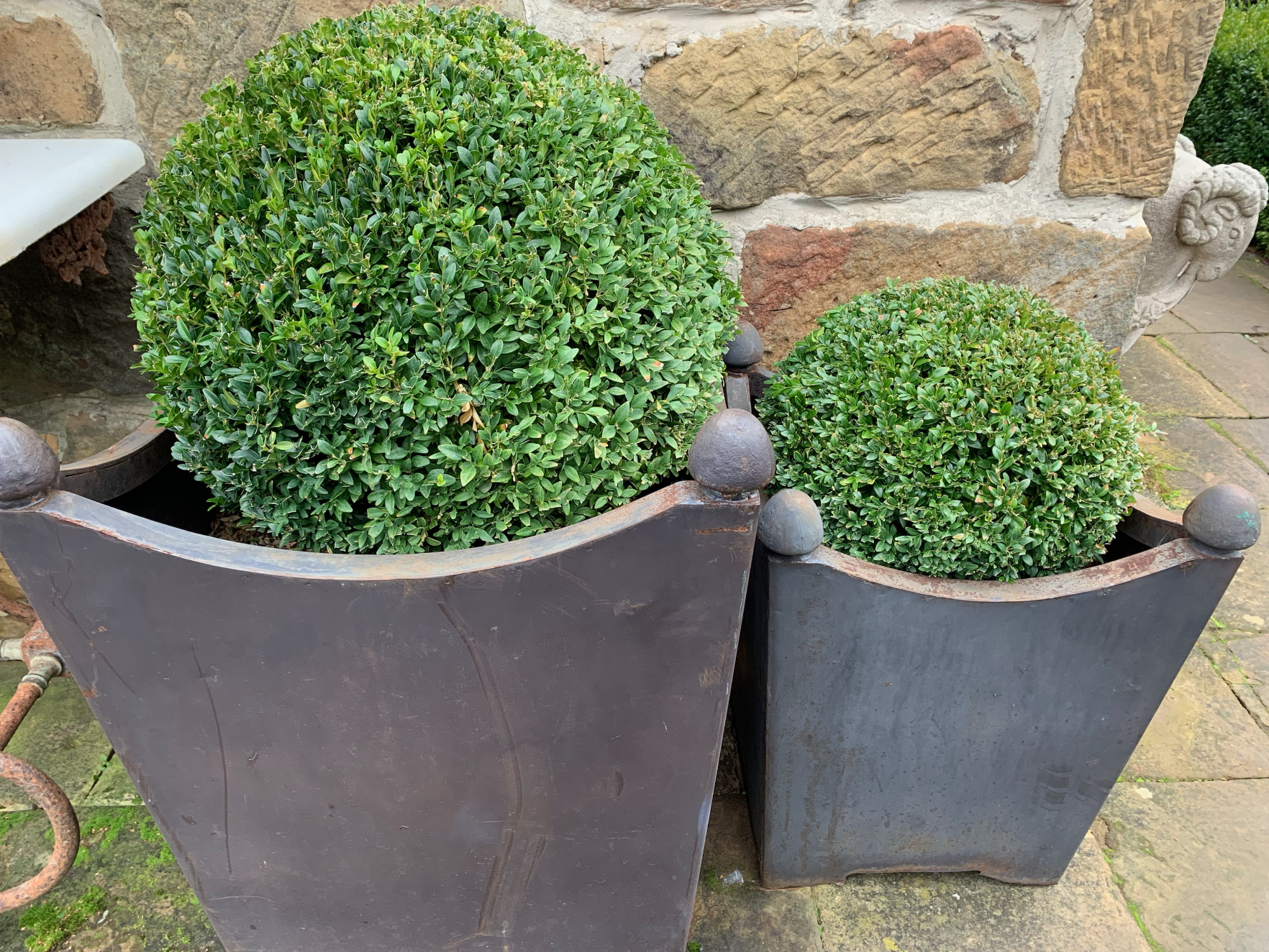Metal swag planters with decorative knob handles (available in two sizes)  UP1825  $595 out of stock  UP1826  $495 out of stock