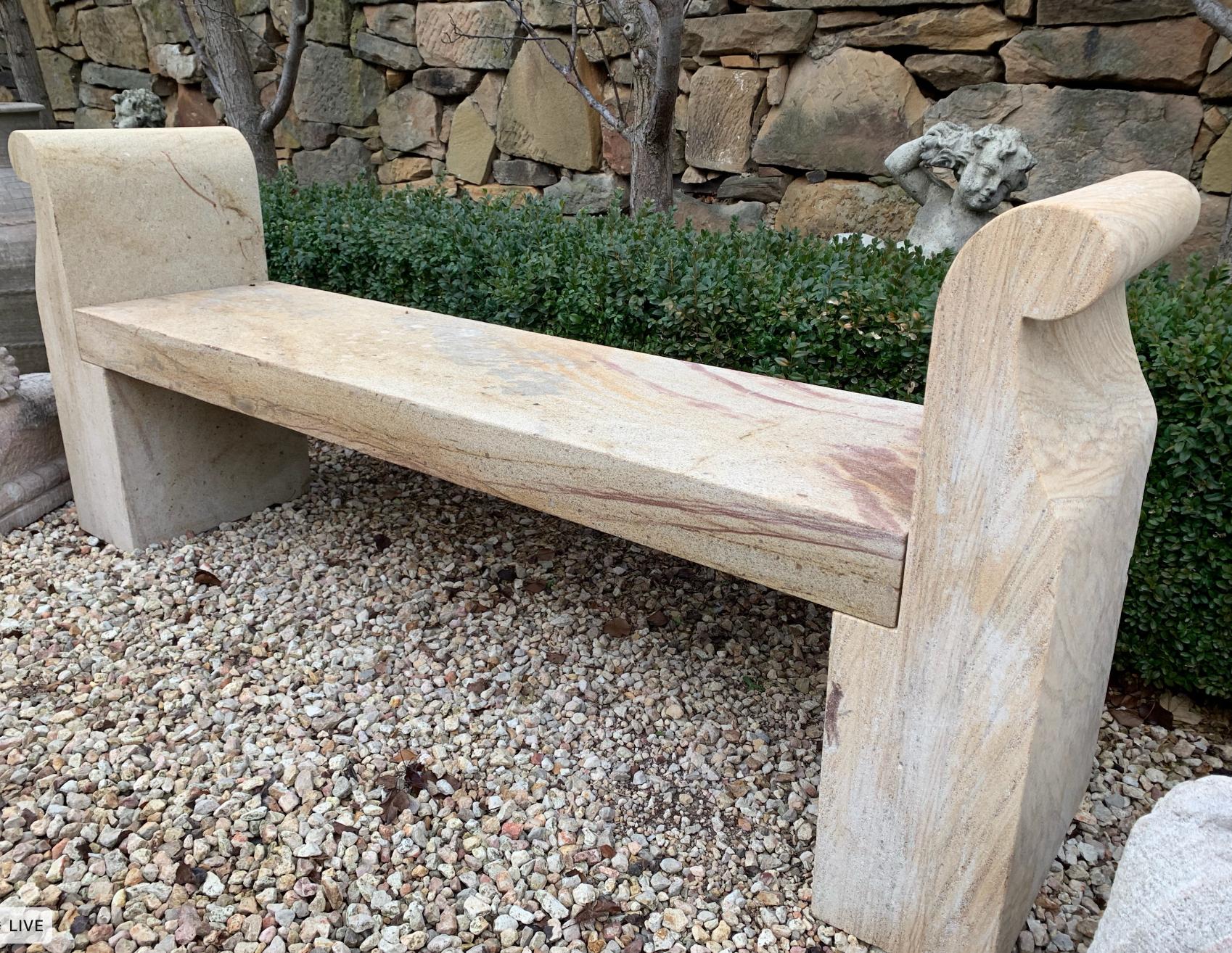 SB1669 Sandstone Lyon garden bench $995