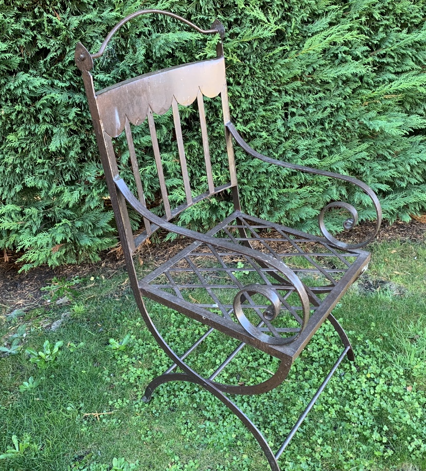 TC1329 French scroll iron garden carver chair $350ea