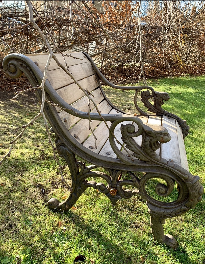 SB163 Cast Iron Griffin seat with timber seat $895