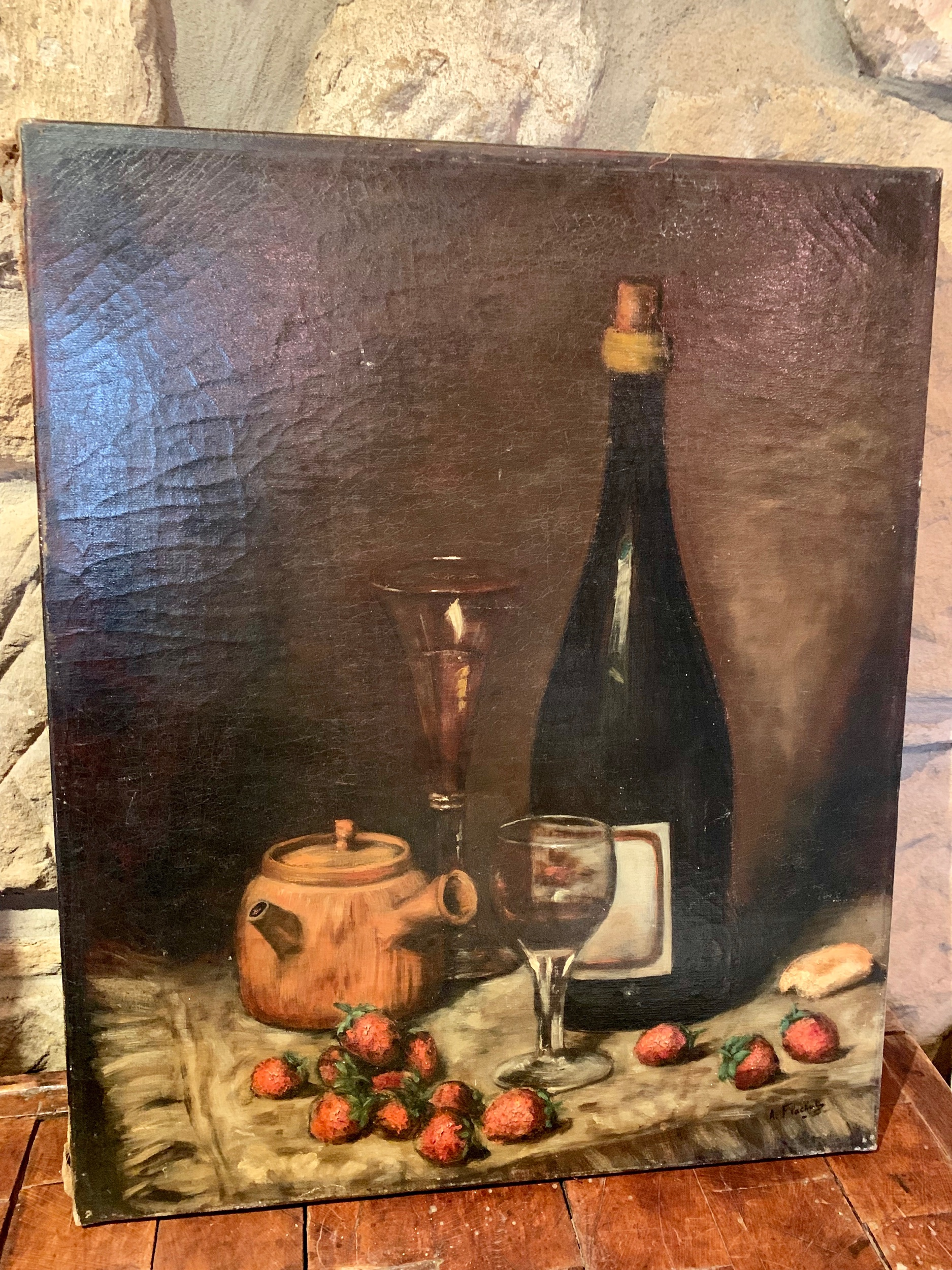 I9 19th C French still life oil on canvas  $995