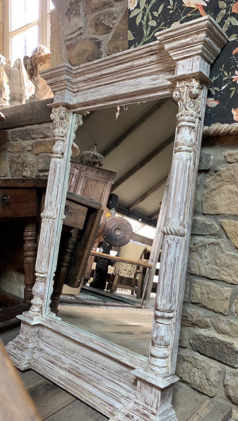 ML2023 Solid timber hand carved French style mirror with distressed paint finish  $795 Sold