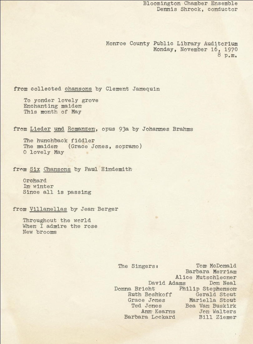 The very first concert program, Nov. 16, 1970, listing all the singers.