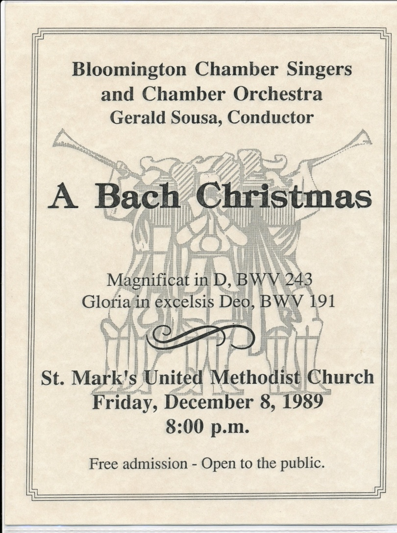 The program for the first concert directed by Gerald Sousa, Dec. 8, 1989.