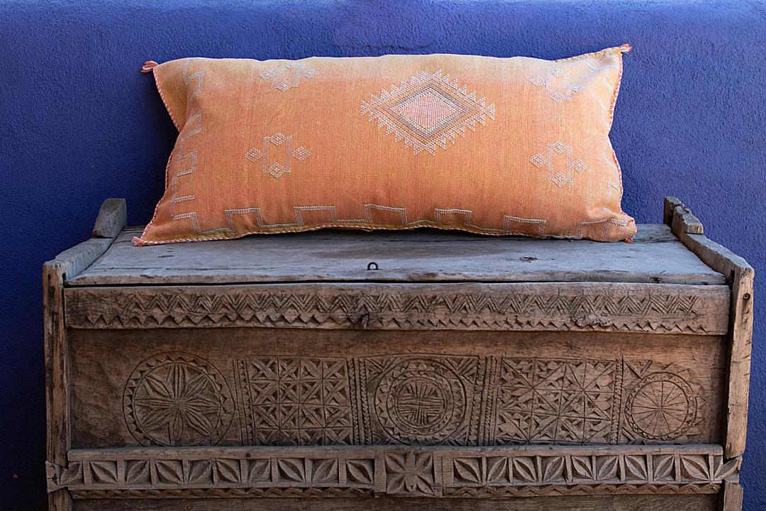 Large Orange Moroccan Cactus Silk Pillow Cover