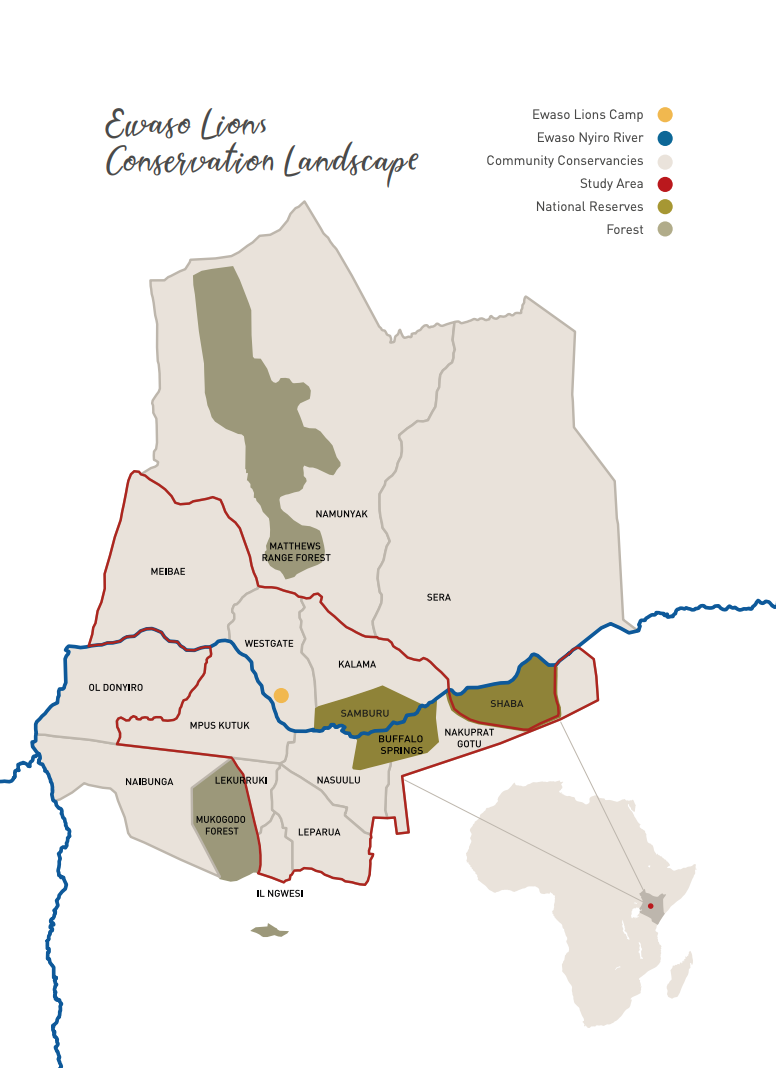 Map of Ewaso Lions conservation landscape, courtesy of Ewaso Lions